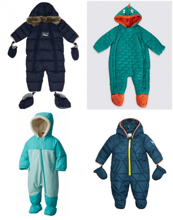 e7f76a839 Clockwise from top left: Timberland baby boy all-in-one snowsuit, was £79  now £55.30, House of Fraser; Dinosaur snowsuit with Stormwear, €30, ...