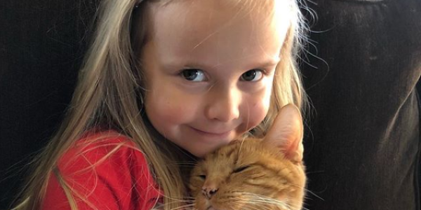 c062a57d52111 Watch: Four-year-old little girl soothes her cat to sleep by reading to him